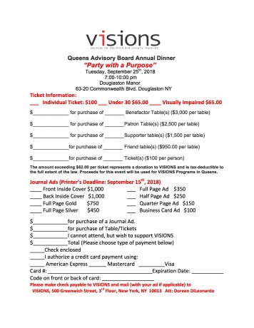 Queens VISIONS Advisory Board Party with a Purpose September 25th 2018 Pricing (1)